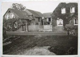 1950 Anwesen Leo Zehe mit fränkischem Hoftor, Taubenschlag und Hausrebstock auf Südseite, zur Straße
